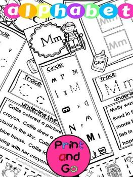 Print and Go Alphabet Kindergarten Preschool Pages