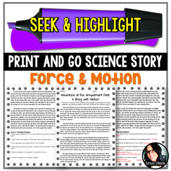 Seek and Highlight, Print & Go Story - Motion (Position, S