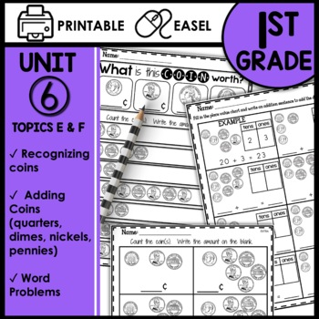 Print and Go Math Sheets (recognizing and counting coins)