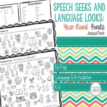 Print and Go Speech Seeks and Language Looks: Year-Round Bundle