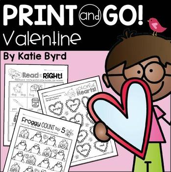 Print and Go! Valentine Math and Literacy (NO PREP)