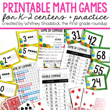 Math Games to Print and Play for K-2 Students