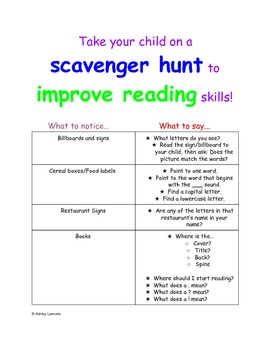 Print concepts scavenger hunt