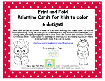 Print, fold and color Valentine cards for kids and student