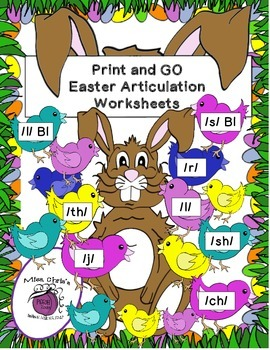 Print-n-GO Artic/Speech Rhyming Activities for Easter {8 s