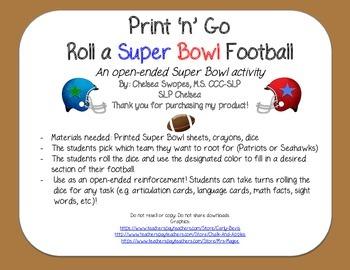 Print 'n' Go: Roll a Super Bowl Football