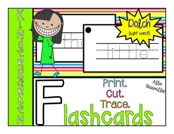 Print.Cut.Trace. Kindergarten Dolch Flashcards