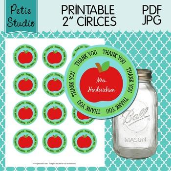 Printable 2 Inch Circles Thank You Apple Editable PDF - La