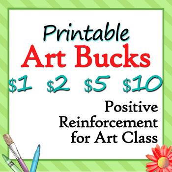 Printable Art Bucks - Art Class Rewards in $1, $2, $5 and
