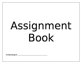 Printable Assignment Book