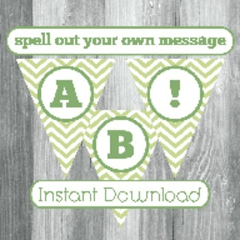 Alphabet Banner with Letters, and Numbers - Green Chevron