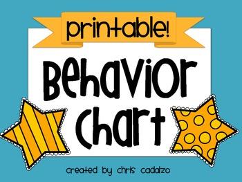 Printable Behavior Chart for Classroom Management