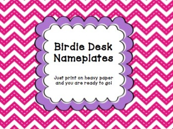 Printable Birdie Desk Nameplates