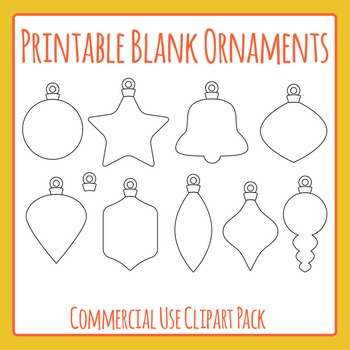 Printable Blank Christmas Ornaments Clip Art Pack for Comm