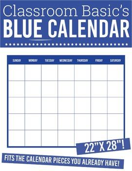 "Printable Blue Calendar (22""X28""!)"
