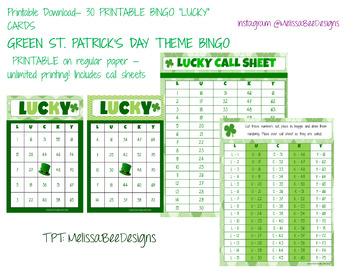 Printable Classroom Bingo Cards in Green St. Patrick's Day