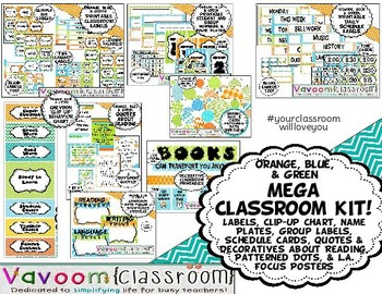 MEGA Printable Classroom Kit in Orange, Blue, and Green