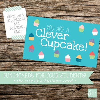 Printable Clever Cupcake Punchcard for Students