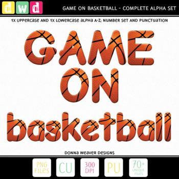 Printable Clip Art *GAME ON - BASKETBALL* Alphabet, Punctu