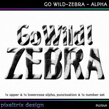 Printable Clip Art *GO WILD - ZEBRA* Alphabet, Punctuation