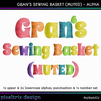 Printable Clip Art *GRANS SEWING BASKET - MUTED* Alpha, Pu