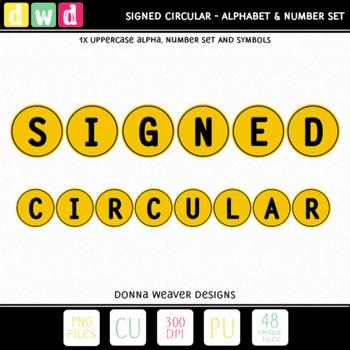 Printable Clip Art *SIGNED - CIRCULAR* Alphabet, Punctuati