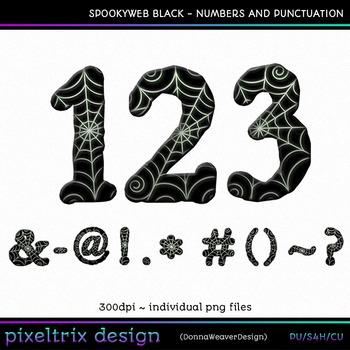 CU4CU *SPOOKYWEB - BLACK* Numbers and Punctuation Printabl