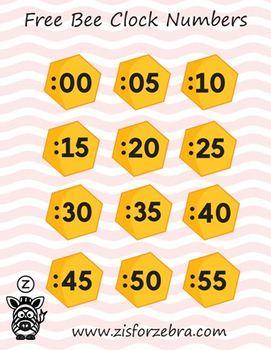 Printable Clock Numbers -  Bee Theme Freebie - ZisforZebra