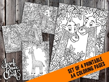 Printable Coloring Pages Set - 4x Detailed Giraffe Colorin