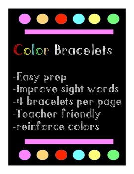 Printable Colour Sight Word Bracelets, primary classroom,