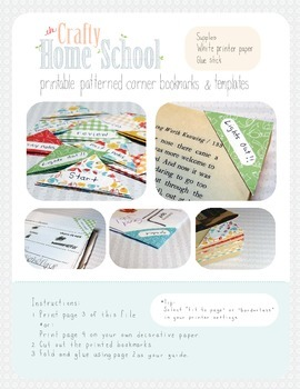 Printable Corner Bookmarks with Labels