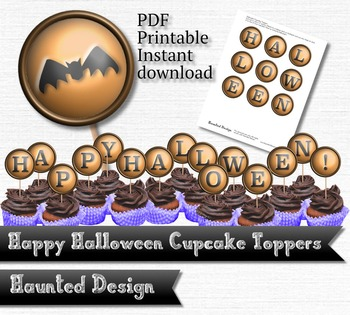 Printable Cupcake Happy Halloween 2 inch party circle Prin