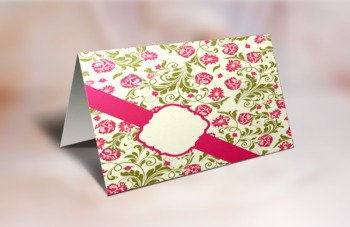 Printable Cute Pink Card With Flowers