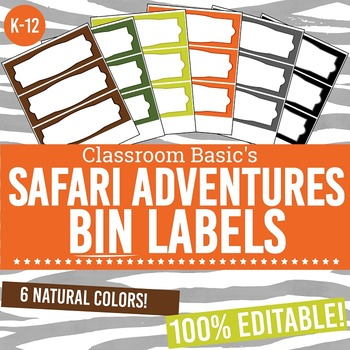 Safari Adventures Printable Bin Labels (Editable!)