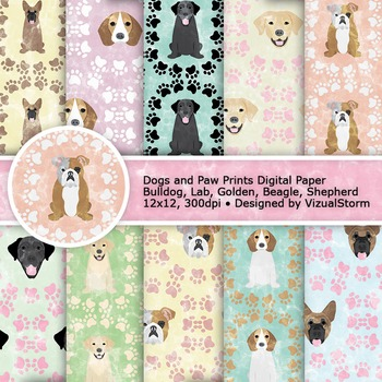 Printable Dog Digital Paper, Dogs and Paw Prints Patterns