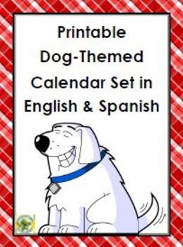 Printable Dog-Themed Calendar Set in English & Spanish