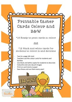 Printable Easter Cards Colour and Black and White for Teac