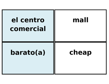 Printable Flashcards: Ir de compras/Shopping in Spanish (A