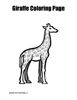 Printable Giraffe Coloring Page Duo