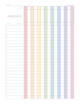 Printable Gradebook Sheet--Color