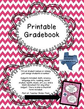 Printable Gradebooks for Each Subject for Teacher Binder