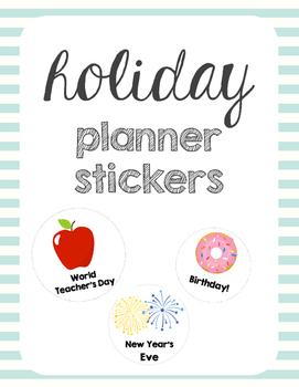 Printable Holiday Planner Stickers (USA & Canada)