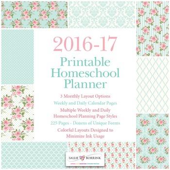 Printable Homeschool Planner - 2016-17 Academic Year - Pink Roses