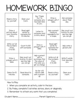 Printable Homework Bingo {FREEBIE}