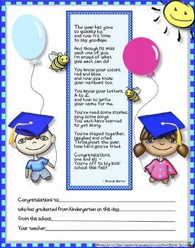 Printable Kindergarten Graduation Certificates Bundle End