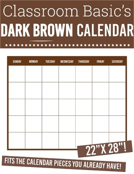 Printable Dark Brown Calendar (22X28 !)