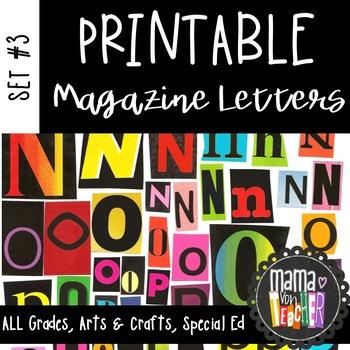 Printable Magazine Letter Cutouts, Set 3, Alphabet a-z: Wo
