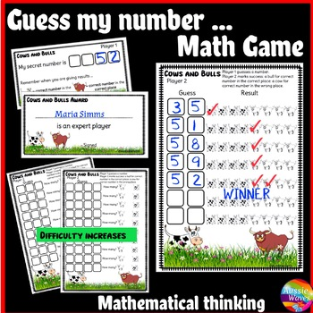 Printable Math Center Game COWS and BULLS Makes Students T