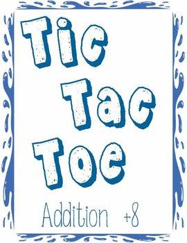 Printable Math Center Tic Tac Toe Addition Plus 8 File Fol