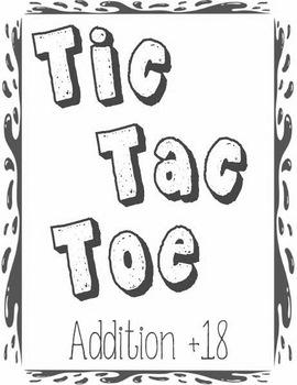 Printable Math Center Tic Tac Toe Addition Plus 18 File Fo